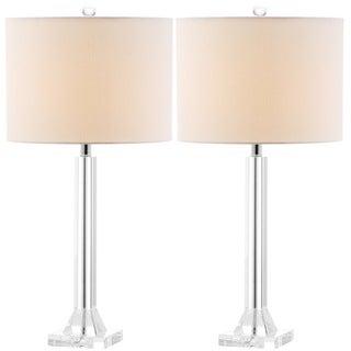 Safavieh Indoor 1-light Tyrone Cream Shade Crystal Column Table Lamp (Set of 2)
