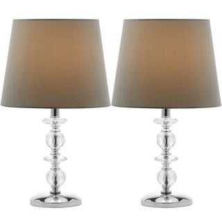 Safavieh Indoor 1-light Derry Green Shade Stacked Crystal Orb Table Lamp (Set of 2)