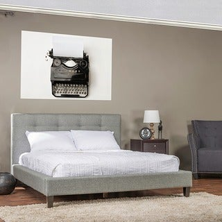 Quincy Grey Linen Platform Bed