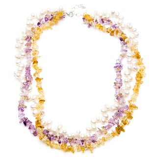 Sterling Silver FW Pearl, Citrine and Amethyst Chip Necklace (5-6 mm)