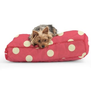 DogSack Rectangle Memory Foam Pink with White Polka Dots Twill Pet Bed