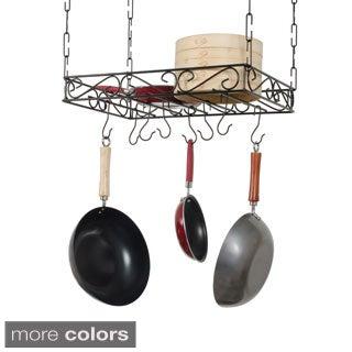 Scrolled Iron Rectangular Ceiling Pot Rack
