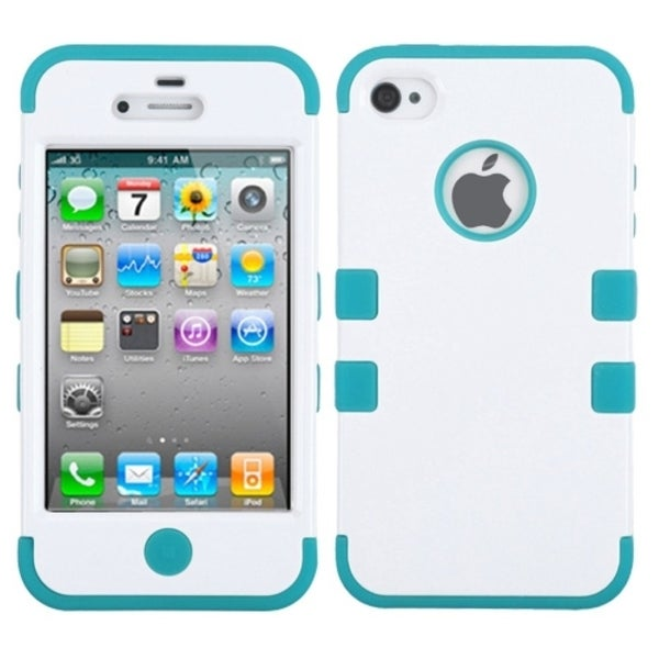 INSTEN Ivory White/ Tropical Teal TUFF Phone Case Cover for Apple iPhone 4/ 4S