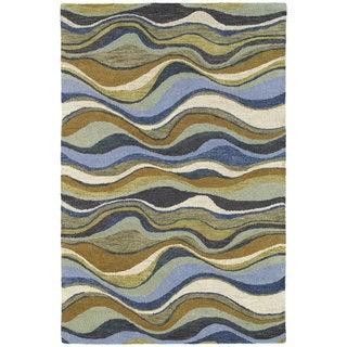 Hand-tufted Manhattan Blue Waves Rug (8' x 11')
