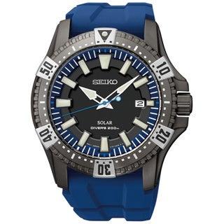 SEIKO Men's Solar Gray Dial Blue Rubber Diver's Watch