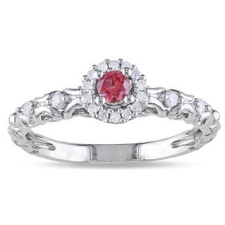 Miadora Sterling Silver 1/4ct TDW Pink and White Diamond Halo Ring (H-I, I2-I3)