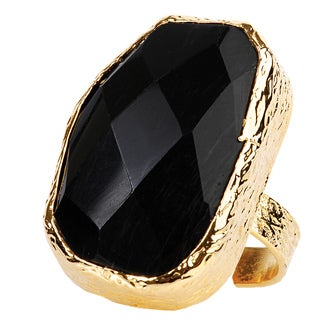 ELYA Goldplated Onyx Adjustable Ring