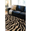 Cadell Animal Zebra Print Jet Black Rug (7'10 x 9'10)