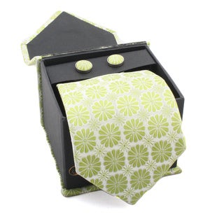 Ferrecci Men's Lime Green Floral Boxed Necktie and Cufflinks