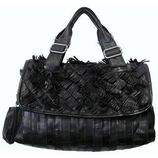 Amerileather 'Nino' Black Angel Hair Leather Fringe Shoulder Bag