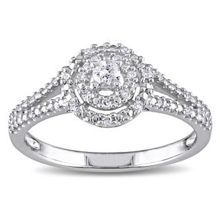 Haylee Jewels Sterling Silver 1/5ct TDW Diamond Promise Ring (H-I, I2-I3)