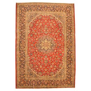 Persian Hand-knotted Isfahan Red/ Navy Wool Rug (9'10 x 14'3)