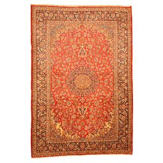 Persian Hand-knotted Isfahan Red/ Navy Wool Rug (9'5 x 14)
