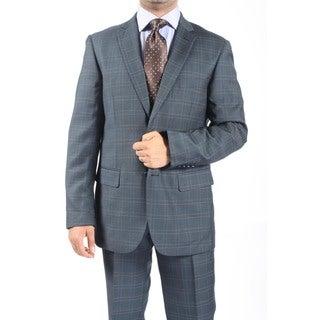Zonettie by Ferrecci Men's Slim Fit Blue Grey Plaid Check 2-button Suit