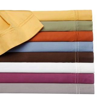 400 Thread Count Double Merrow Hem Cotton Rich Solid Sheet Set or Pillowcase Separates
