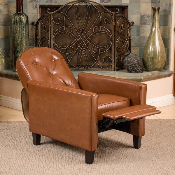 Christopher Knight Home Johnstown Tufted Hazelnut Leather Recliner
