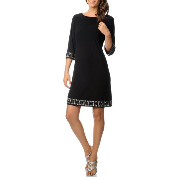 R & M Richards Women's Black Beaded Trim Jersey Knit Dress