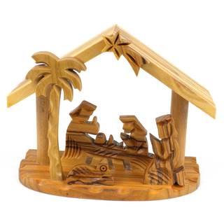 Handmade Olive Wood Small Beams Nativity (West Bank)