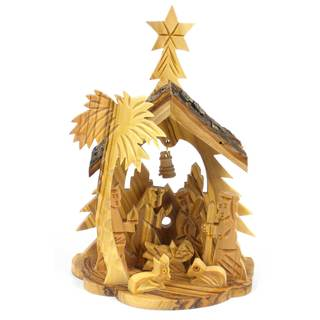 Handmade Olive Wood Medium Nativity with Bell in Back (West Bank)