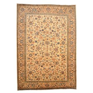 Persian Hand-knotted Isfahan Ivory/ Blue Wool Rug (9'7 x 13'9)