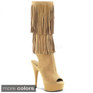 Pleaser Women's 'Delight-2019' Open Toe Knee-high Fringe Boots