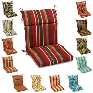 Blazing Needles 42-inch by 20-inch Patterned Outdoor Spun Poly Three-Section Seat/Back Chair Cushion