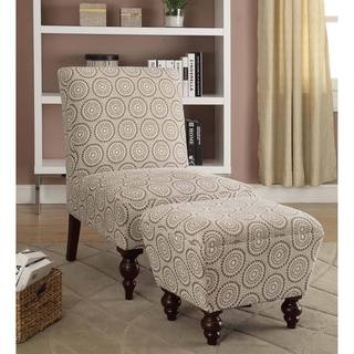 Armless Accent Chair/ Ottoman Set