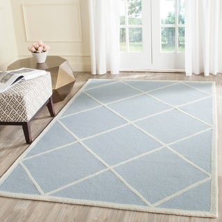 Safavieh Handmade Moroccan Cambridge Light Blue/ Ivory Wool Rug with High/ Low Construction (9' x 12')