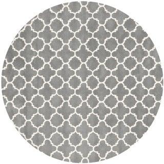 Safavieh Handmade Moroccan Chatham Dark Gray/ Ivory Wool Area Rug (9' Round)