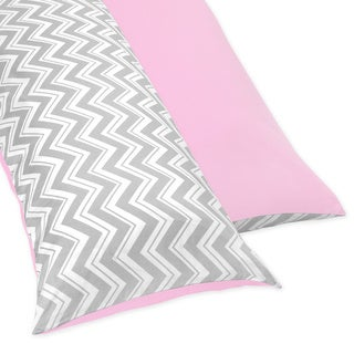 Sweet Jojo Designs Pink and Gray Chevron Full Length Double Zippered Body Pillow Case Cover