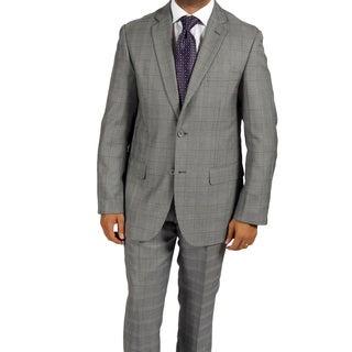 Ferrecci Men's 'Zonettie' 2-piece Checkered Grey Suit