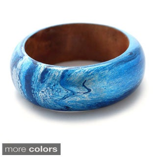 Abstract Painted Wood Bangle (Indonesia)