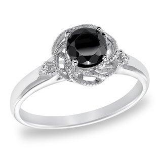 Cambridge Sterling Silver 3/4ct TDW Swirl Black Diamond Ring