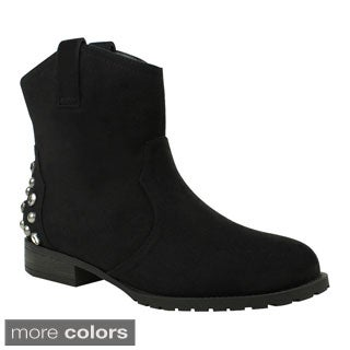 Mark & Maddux Women's 'Philip-02' Embellished Ankle Combat Booties