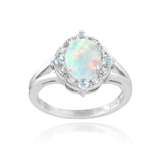 Glitzy Rocks Sterling Silver Opal, Blue Topaz and Diamond Ring (I-J, I2-I3) 1 1/4 carat TGW