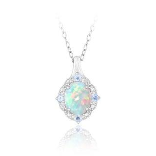 Glitzy Rocks Sterling Silver Opal, Blue Topaz and Diamond Necklace (I-J, I2-I3) 1 1/4 carat TGW