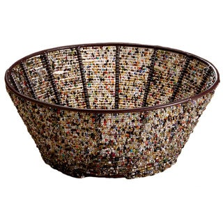 Round 10-inch Iron Basket with Multi-color Beads