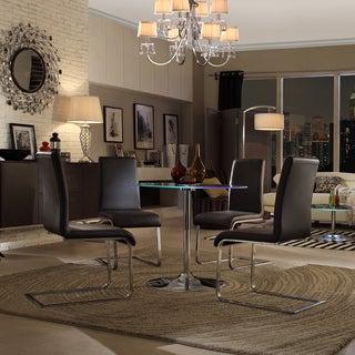 INSPIRE Q Lorin LED Round Chrome/ Black Dining Set