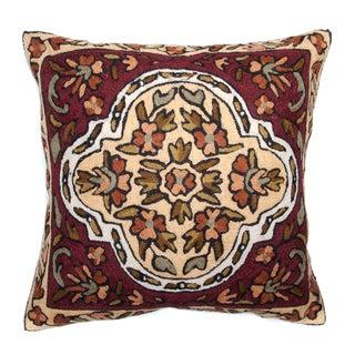 Chain Stitch Embroidery Earth Garden Kashmir Cushion Cover (India)