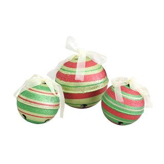 6-inch Red and Green Glitter Jingle Bell Ornaments (Set of 3)