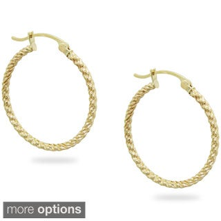 Gioelli 14k Yellow Gold Ridged Hoop Earrings