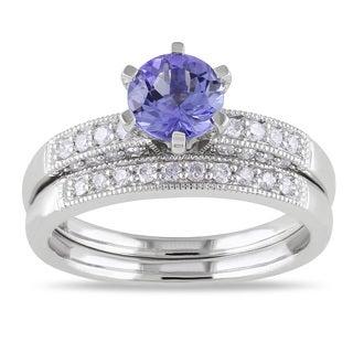 Miadora 10k Gold Tanzanite and 1/3ct TDW Diamond Bridal Ring Set (H-I, I2-I3)