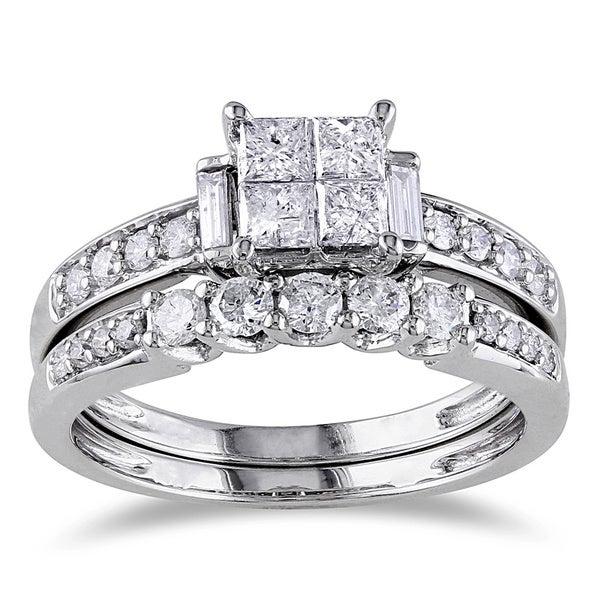 Miadora 14k White Gold 1ct TDW Certified Diamond Bridal Ring Set (G-H, I1-I2, IGL)