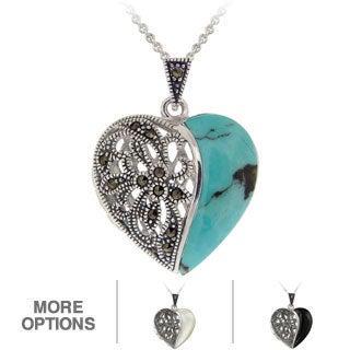 Glitzy Rocks Silvertone Marcasite And Gemstone Heart Locket Necklace