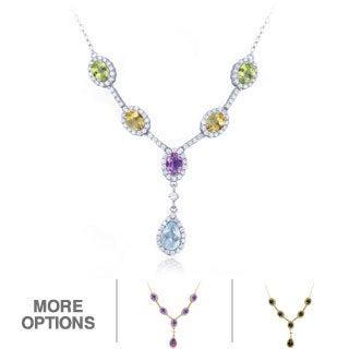 Glitzy Rocks Sterling Silver Gemstones 'Y' Necklace