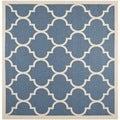 Safavieh Indoor/ Outdoor Courtyard Geometric-pattern Blue/ Beige Rug (4' Square)