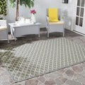 Safavieh Indoor/ Outdoor Courtyard Anthracite/ Beige Polypropylene Rug (5'3 Square)