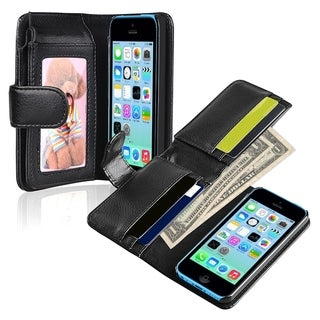 INSTEN Black Wallet Leather Phone Case Cover for Apple iPhone 5C