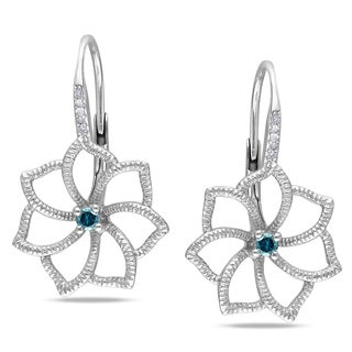 Haylee Jewels Sterling Silver 1/6ct TDW Blue and White Diamond Flower Earrings (G-H, I1-I2)