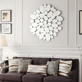 INSPIRE Q Mason Oval Collage Silver Finish Water Drop Accent Wall Mirror